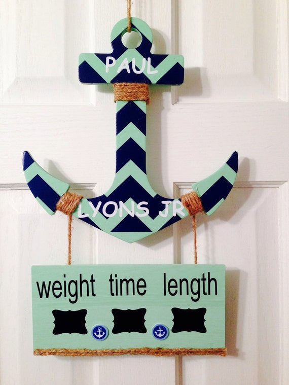 It 39 s a boy anchor baby hospital door hanger sign chevron for Baby boy hospital door decoration