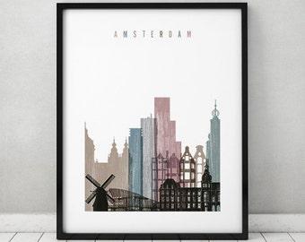 Amsterdam art, Amsterdam skyline, print, poster, Wall art, distressed art, City poster, Netherlands, Home Decor, travel gift, ArtPrintsVicky