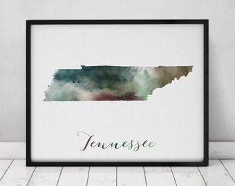 Tennessee map, Tennessee print, Tennessee poster, Wall art, Tennessee state, travel poster, USA art print watercolor print, ArtPrintsVicky.