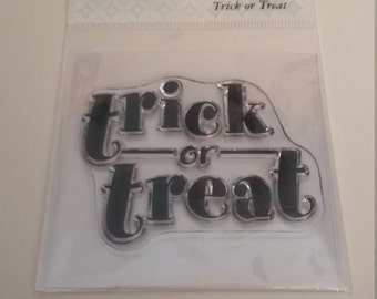 """Autumn Leaves Stampology """"Trick or Treat"""" clear stamp, never used"""