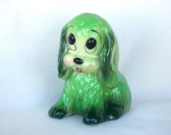 Mid-Century Spring Green Puppy Dog Ceramic Planter Kitsch