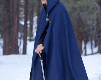 Linen Viking Cloak Cape Garb Norse, SCA, LARP, HEMA, Medieval, Renaissance, Fantasy Black Brown Blue Comic Con Celtic Slavic Reenactment Elf
