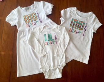 Big Sister/Middle Sister/Little Sister Matching Appliqué Outfits