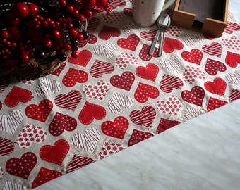 Valentine's Day Table Runner, Gift for Her, Table Runner handmade