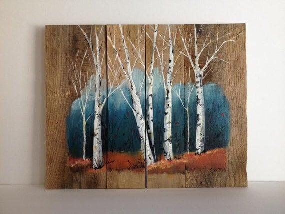 Pallet painting distressed wood art pallet art for Mural on wood