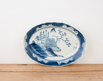 Antique Mountain Hut Oval Blue and White Japanese Plate