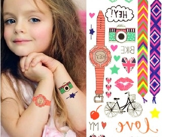 Cute Party Tattoos For Children - Temporary Tattoos // Body Art // Cool // Tumblr Style // Summer // Party