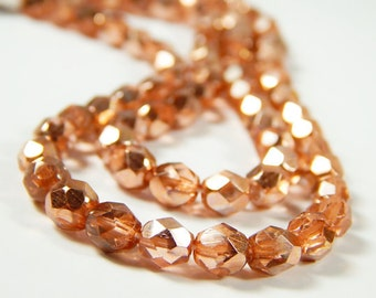 25 Pcs - 6mm Faceted Orange Copper Czech Glass Beads - Half Coated - Czech Glass Beads - Jewelry Supplies