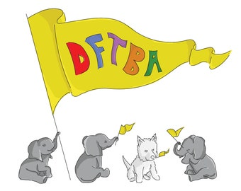 Puppy Sized Elephants with DFTBA Flag, Nerdfighter Poster, 8x10 Print