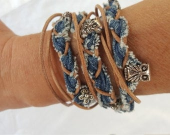 Wrap bracelet of jeans with owls and leather