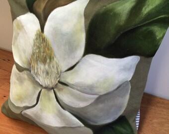 Hand-painted Linen Magnolia Throw Cushion