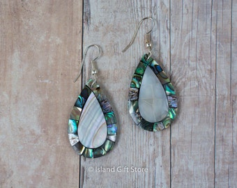 Mother of Pearl and Abalone Natural Sea Shell Tear Drop earring