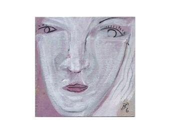 "Portrait 10/10 cm ""Woman, faces"" unique images / grey - pink painterly painting and original drawings -"