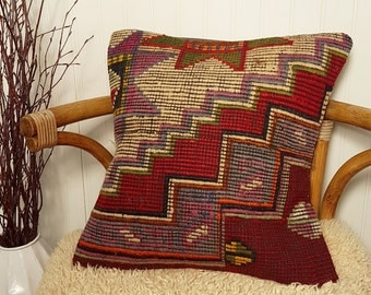 Turkish Kilim Pillow Cover, Pastel Kilim Pillow, Bohemian Decorative Pillow, Boho Pillow, Turkish Kilim