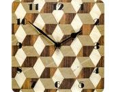 Wall Clock Retro Clock Art Deco Style Clock Melamine Wall Clock Housewarming Gift for Him Kitchen Clock Square Wall Clock Geometric Kitchen