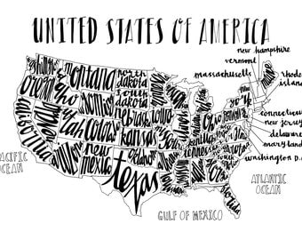 Hand Drawn Typography Map of USA