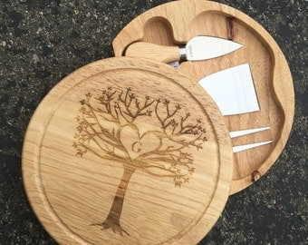 Cheese Server with Tools Rustic Tree,Cheese Board, Housewarming Gift, Shower Gift,Wedding Gift,Anniversary Gifts,Laser Engraved