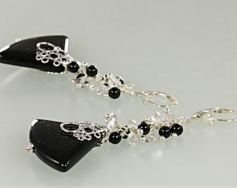 Black Onyx and Genuine Herkimer Diamonds Dangle Earrings, Black and Quartz Cluster and Dangle Earrings