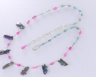 Biwa Black Pearl, Pink and Blue Pearl Sterling Silver Necklace, Black Pink Blue Pearl Necklace