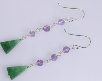 Sale Item-Green Aventurine and Purple Amethyst Wire Wrapped Dangle Earrings