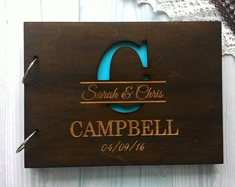 Wedding Guest Book, Rustic Guest book Laser engraved Wood Guest Book, Rustic Custom Guest Book