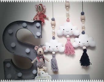 Hanging Cloud Garland, Cute Nursery Decor, Baby Shower Gift, Cloud Wall Decoration,Cloud with Wooden Beads and Tassel, Nursery/Bedroom decor