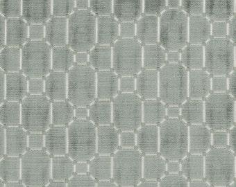 BEACON HILL PAVE Geometric Velvet Fabric 5 Yards Seafoam