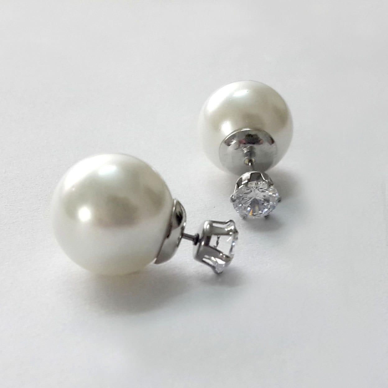 Double Sided Earrings Double Pearl Studs Double Pearl