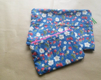 Handmade cotton print zippered makeup bag set