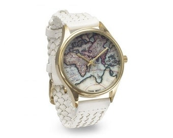 Braided White or Brown Leather World Map Watch