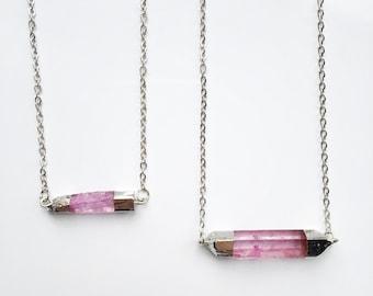Sale !!!! FREE UK SHIPPING - Horizontal Pink Quartz Crystal Pendant - Necklace - Gemstone - Raw