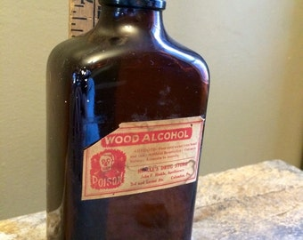 Vintage Wood Alcohol Amber Glass apothecary bottle from Columbia PA