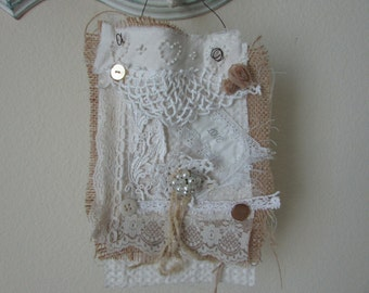 fabric and lace collage