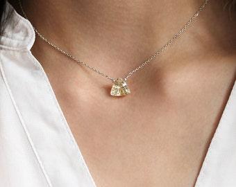 Geometric Necklace, Citrine Choker, Sterling Silver Necklace, Triangle Gemstone Pendant,Modern Jewelry, November Birthstone,Statement Choker