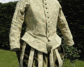 men's doublet and paned slops . reenactment renaissance Elizabethan suit, size Large,