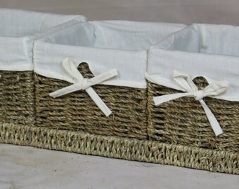 Natural Sea-grass Baskets with Tray, Set of 3