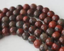 8mm Poppy Jasper Round - Polished Beads Genuine Natural Gemstones Full Strand A Quality