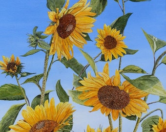Sunflower Print - Flower Painting - Nature Print - Floral Painting - Yellow Flowers - Bright Blue Sky - Matted Print