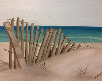 The Deserted Beach, Original 12x16 Oil Painting on Canvas