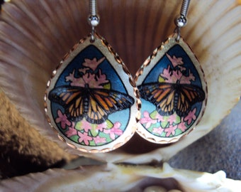 Colorful Handcrafted Monarch Butterfly earrings