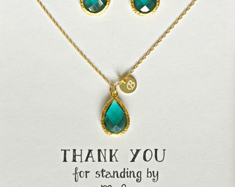 Set of 7 personalized Green wedding Jewelry Sets, Green Bridesmaid Necklace Earring Set with initial, Emerald Green Jewelry Set, TS7