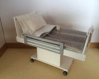 Dollshouse Handmade Hospital Bed  1/12th scale Made to Order