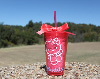 Hello Kitty Pink tumbler with name 16oz