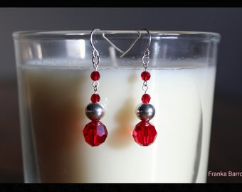 Red crystal Ball earrings