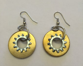 Gold and Silver Washer/Locking Washer Hardware Earrings