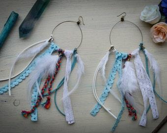 Fringe hoop earrings / Lace hoop earrings / Boho earrings / Big earrings/ Turquoise white feather earrings / Gypsy Hippie earrings /Festival