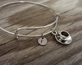 Tea Cup Bangle Bracelet - Tea Drinker Gift - Tea Gift - Tea Party Gift - Coffee Lover - Initial