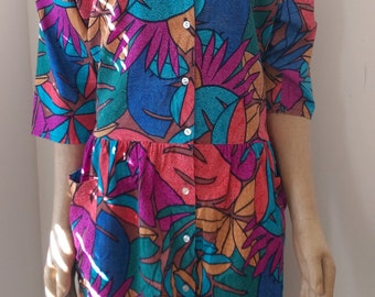 Vintage colorful leaf dress