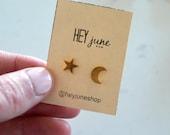 Moon and star stud earrings, night sky earrings, gold sky earrings, summer earrings, gold moon earrings, silver moon and star earrings