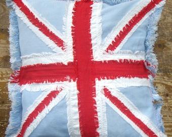 Union Jack Cushion cover, Handmade Jenniwren Originals pillow cover, unique gift, christmas cushion, VW Camper Van